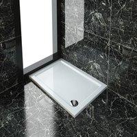 ELEGANT Rectangular 1000 x 700 x 40 mm Stone Tray for Shower Enclosure Cubicle + Waste Trap