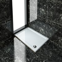 Rectangular 1100 x 800 x 40 mm Stone Tray for Shower Enclosure Cubicle + Waste Trap - Elegant