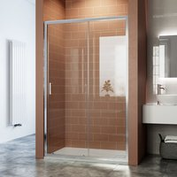 Reversible Sliding Glass Shower Enclosure with Slip-Resistance Shower Tray- 6mm Safety Glass Panel Bathroom Cubicle Door 1200x800mm - Elegant