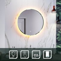 Round Bathroom Mirror Illuminated LED Light Backlit Makeup Mirror with Sensor Touch control,Dustproof andAnti-fog,Warm White Light 600x600mm - Elegant