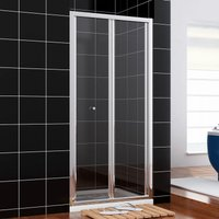 Shower Door 900mm Bi-Fold Shower Door Enclosure Glass Reversible Folding Cubicle - Elegant