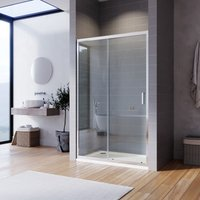 Sliding Shower Enclosure 6mm Toughened Glass Bathroom Panel Reversible Shower Door 1100x800mm with Tray - Elegant