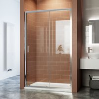 Sliding Shower Enclosure 6mm Toughened Glass Bathroom Smooth Screen Panel Reversible Shower Cubicle 1000mm - Elegant