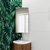 Stainless Steel Corner Cabinet 600 x 300 mm Wall Mounted Bathroom Storage Cabinet Single Door with 3 Shelves Mirror Cabinet - Elegant