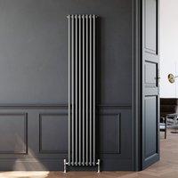 Traditional Radiator Anthracite Double Vertical Cast Iron Grey Radiator 2 Column 1800 x 380 mm - Elegant