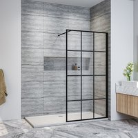 Walk in Shower Door Wet Room Reversible Shower Screen Panel 8mm Safety Glass Matte Black Walkin Shower Door 900mm with 1400x800mm Anti-Slip Resin