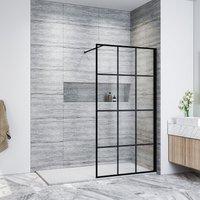 ELEGANT Walk in Shower Door Wet Room Reversible Shower Screen Panel 8mm Safety Glass Matte Black Walkin Shower Door 900mm with 1700x800mm Anti-Slip