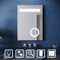 ELEGANT Wall Mounted Illuminated LED Bathroom Mirror with Lights 500 x 700 mm Shaver Socket magnifying Mirror Button Switch