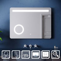 ELEGANT Wall Mounted Illuminated LED Bathroom Mirror with Lights 800 x 600mm Anti-foggy 3 Times Magnifying