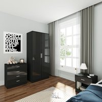 ELEGANT Wardrobe and Cabinet Furniture Set Bedroom 2 Doors Wardrobe and 4 Drawer Chest and Bedside Cabinet High Gloss, Black