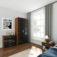 Wardrobe and Cabinet Furniture Set Bedroom 2 Doors Wardrobe and 4 Drawer Chest and Bedside Cabinet High Gloss , Black/Walnut - Elegant