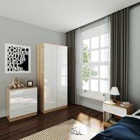 Wardrobe and Cabinet Furniture Set Bedroom 2 Doors Wardrobe and 4 Drawer Chest and Bedside Cabinet, High Gloss White/Oak - Elegant