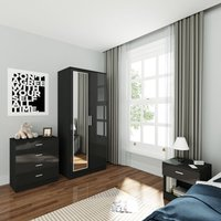 Wardrobe and Cabinet Furniture Set Bedroom 2 Doors Wardrobe with Mirror and 4 Drawer Chest and Bedside Cabinet High Gloss, Black - Elegant
