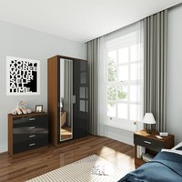 Wardrobe and Cabinet Furniture Set Bedroom 2 Doors Wardrobe with Mirror and 4 Drawer Chest and Bedside Cabinet High Gloss, Black/Walnut - Elegant