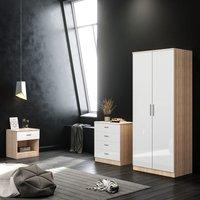 ELEGANT White/Oak Modern High Gloss Wardrobe and Cabinet Furniture Set Bedroom 2 Doors Wardrobe and 4 Drawer Chest and Bedside Cabinet