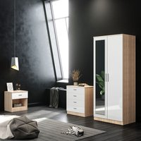 White/Oak Modern High Gloss Wardrobe and Cabinet Furniture Set Bedroom 2 Doors Wardrobe with Mirror and 4 Drawer Chest and Bedside Cabinet - Elegant