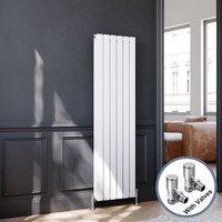 ELEGANT Vertical Column Designer Radiator Flat Panel 1600 x 452 mm White Double Angled Radiator Valves