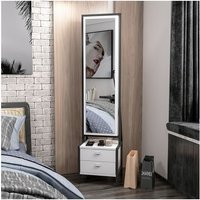 Elegante Multiuse Cabinet - with Mirror, Shelves, Drawers - for Hall, Bedroom - White, Black, made in Wood, 41 x 35 x 170 cm - HOMEMANIA