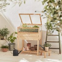 Elevated Wooden Planter with removable polycarbonate greenhouse, ERABLE, 2 in 1, with shelf and geotextile, 80 x 60 x 109 cm