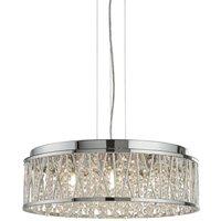 Elise 7 Light Ceiling Flush/Pendant, Chrome, Clear Crystal D
