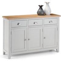 Grey Painted 3 Door 3 Drawer Sidebaord With Oak Top - Elise