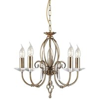 Elstead Aegean - 5 Light Chandelier Aged Brass Finish, E14