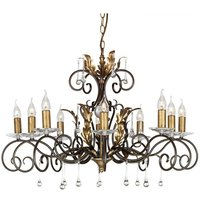 Elstead Lighting - Elstead Amarilli - 10 Light Chandelier Bronze, Gold Floral Leaves Design , E14