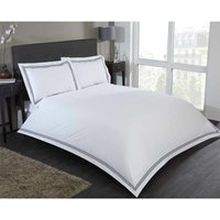Embroidered Single Duvet Quilt Cover and 1 Pillowcase Bedding Bed Set White