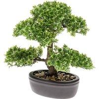 Artificial Ficus Mini Bonsai Green 32 cm 420002 - Green - Emerald