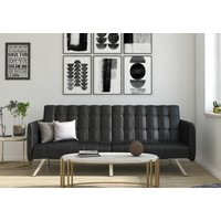 Emily Convertible Click Clack Split Back Sofa Bed Tufted Black Faux Leather