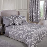 Emma Barclay Butterfly Meadow Duvet King Bed Silver, 100% Polyester