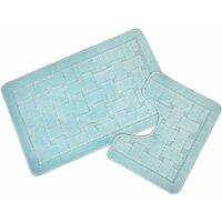 Emma Barclay Orkney Non-Slip Bath Mat Pedestal Set Aqua, 50 x 80/50 x 40 cm