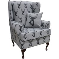 Emmet Orthopaedic Wing Chair Fireside High Back Armchair Antler Stag Charcoal Grey