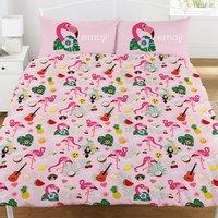 Official Flamingo Reversible Duvet and Pillowcase Set (Double) (Pink/White) - Emoji
