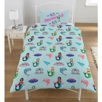 Emoji Unicorns And Mermaids Reversible Single Duvet Set (One Size) (Multicoloured)