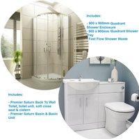 En Suite Bathroom 900 X 900 Quadrant Shower Enclosure Toilet And Basin