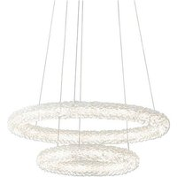 Neve - Integrated LED Pendant Chrome Effect Plate and Crysta