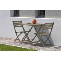 Alumob - Ensemble table de jardin MARIUS pliante en aluminium 70x70 cm + 2 chaises pliantes - BEIGE