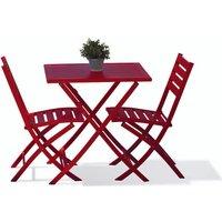 Alumob - Ensemble table de jardin MARIUS pliante en aluminium 70x70 cm + 2 chaises pliantes - ROUGE