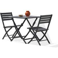 Alumob - Ensemble table de jardin MARIUS pliante en aluminium 70x70 cm + 2 chaises pliantes - ANTHRACITE