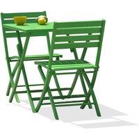 Alumob - Ensemble table de jardin MARIUS pliante en aluminium 70x70 cm + 2 chaises pliantes - VERT