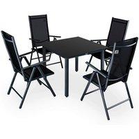 Casaria - Salon de jardin aluminium Anthracite/argent Ensemble table et 4 chaises Anthracite