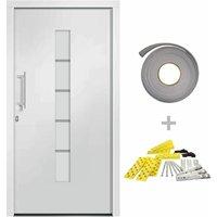 Front Door Aluminium and PVC White 100x200 cm - White - Vidaxl
