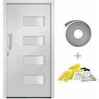 Front Door Aluminium and PVC White 110x210 cm - White - Vidaxl