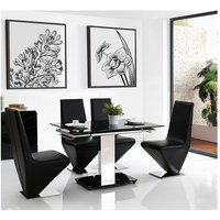Enzo 80-120cm Extending Glass Dining Table with 4 Rita Desig