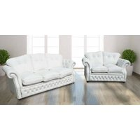 Era 3+2 Crystal Seater Sofa Settee Traditional Chesterfield White Leather - DESIGNER SOFAS 4 U