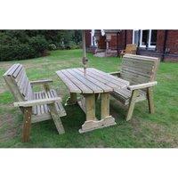 Churnet Valley - Ergo Table Bench Set - Sits 6, wooden garden dining furniture