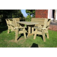 Ergo Table Set - Sits 8 Wooden Garden Dining Furniture Including 2 Bench and 2 Chairs