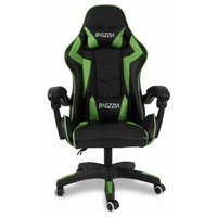 Ergonomic Leather Computer Gaming Seat   Adjustable Office Chair - Black and Green