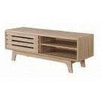 Timber Art Design Uk - Essentials TV Cabinet with Sliding Slatted Door and Shelf in Sonoma Oak Effect